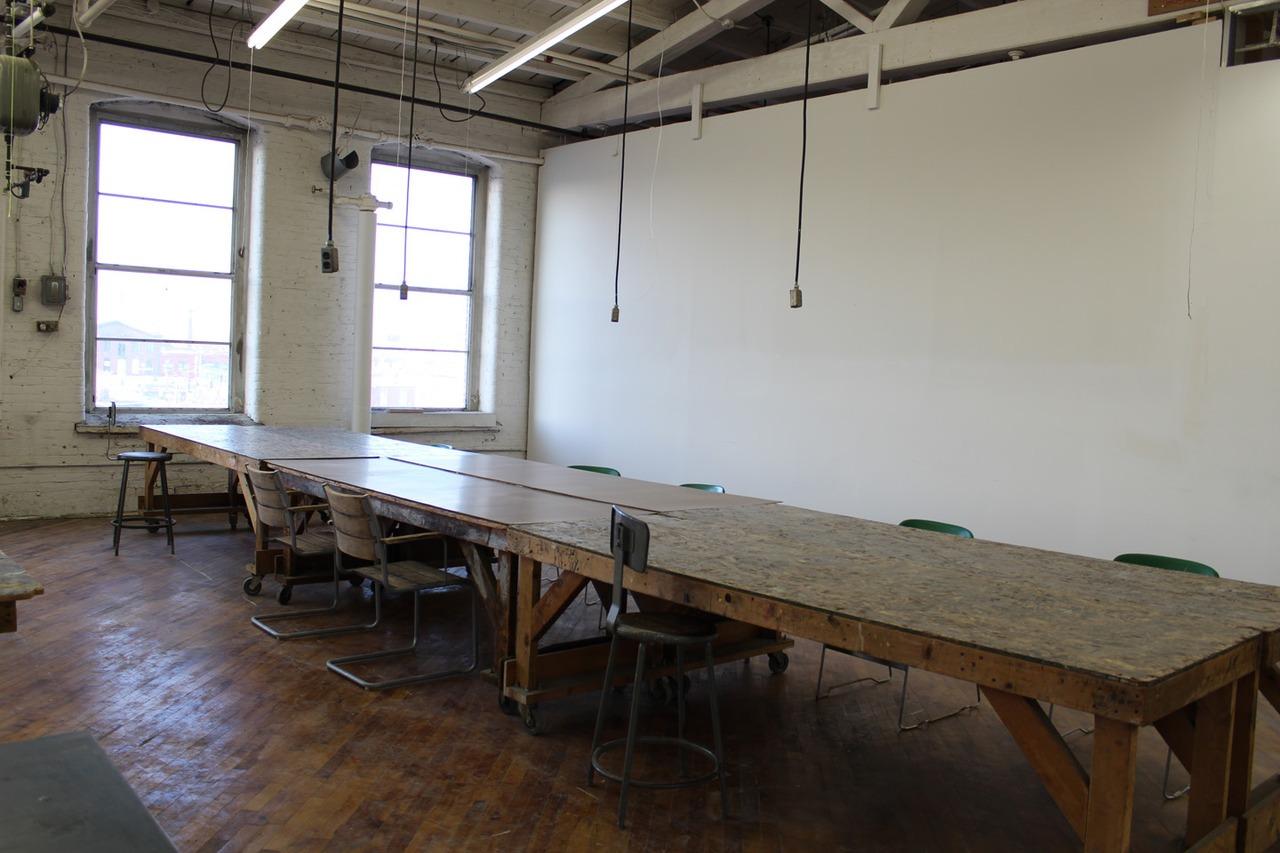 dirty work table, metal shelves